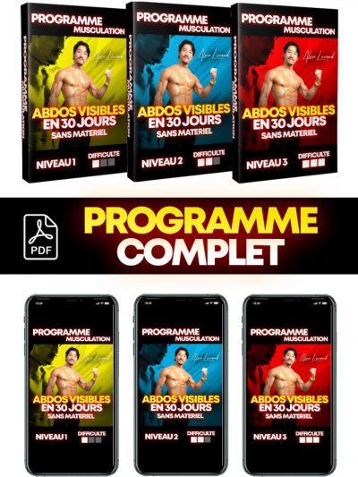 Programme COMPLET musculation ABDOS VISIBLES EN 30 JOURS sans matériel - Niveaux 1, 2 et 3